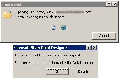 "SharePoint Designer 2010 - The server could not complete your request.  The content type of the response is """". (1/3)"